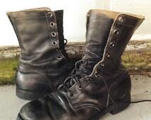 "Mens Vintage GW Hawthorn Black Leather Military 10"" Combat Lace Up Jump Re-soled Boots Sz 9"