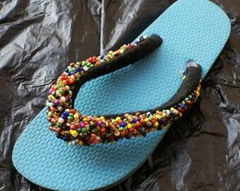 Fairtrade Ghanaian Seed Bead Sandals