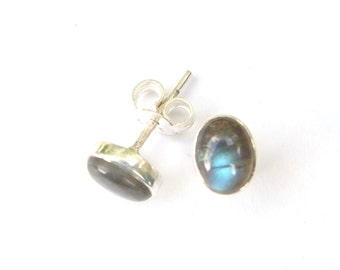 Stunning Hand Made Labradorite Oval Sterling Silver Studs