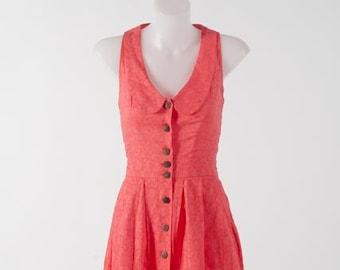 Pink cotton dress - Peter pan collar; Button down