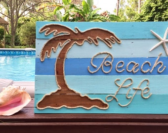 Handmade Beach Life with Rope Beach Pallet Art Coastal Decor Pallet Art Rope Art