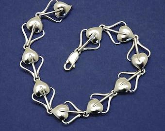 Leaf link bracelet  in 925 sterling silver