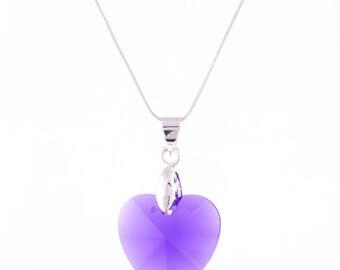 Swarovski Necklace, Purple Heart Pendant Necklace, Swarovski Crystal Necklace,Silver Necklace, Birthday,Gift Ideas,