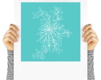 Modern floral art, illustration, aqua  flower, instant art, white petals, contemporary art, digital print