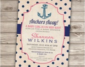 12 Printed Invitations with Envelopes Nautical Baby Shower Navy Blue and Coral Pink Theme Party Navy Anchors Away, A baby Girl is on her way