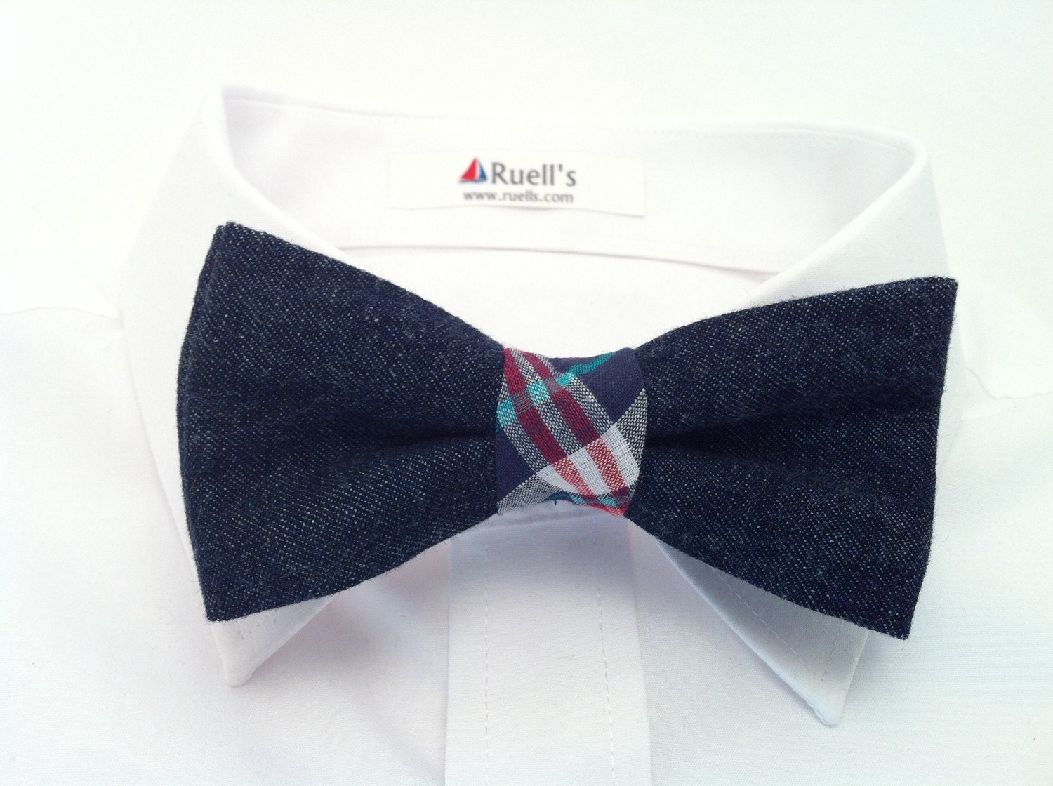 clearance denim clip on bow tie with blue plaid middle by