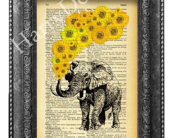 Elephant with sunflowers art print, dictionary page print, wall decor, home decor, wall hanging