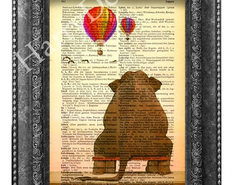Elephant want to travel,  Elephant Print, Elephant wall art, Vintage Dictionary art print home decor