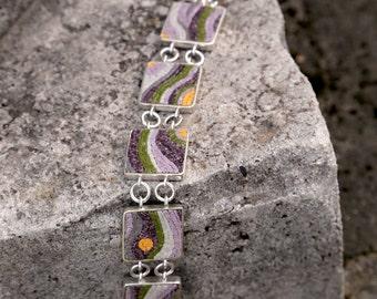 Elegant, uniquely designed micromosaic bracelet, sterling silver,