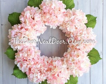 Pink Hydrangea Wreath Perfect for Spring - Mothers Day Wreath - Spring Floral Wreath
