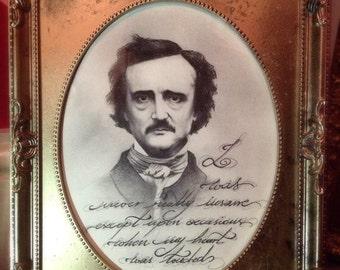 Framed print Edgar Allan Poe illustration portrait poem quote vintage victorian