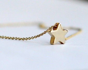 star necklace, tiny gold star necklace, mini 14k gold plated star necklace