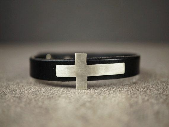 Sideways Cross Bracelet Leather Cross Leather Bracelet Silver