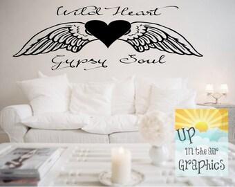 Wild Heart Gypsy Soul Angel Wings Vinyl Wall Decal