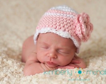 Newborn Beanie, Baby Girl Hat, Baby Hat, Baby Girl Beanie, Crochet Baby Hat, Baby Newborn Hat, Pink White, Ready to Ship, Newborn Baby Hat