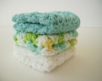 Facial Cloth, Set of 3, Dish Cloth, Cotton Washcloth, Baby Shower Gift, Crochet Dishcloth, Hostess Gift, Scrub Cloth, Baby Girl Washcloth