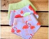 SALE 3 bandana dribble bibs - lime green chevron, floral, orange flamingos on grey