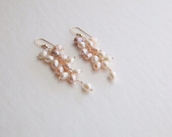 Natural Color Rice Pearl Cluster Earrings
