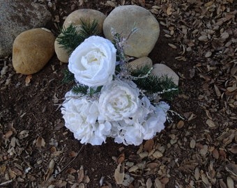 Cemetery flowers designed in snow white flocked roses-READY TO SHIP