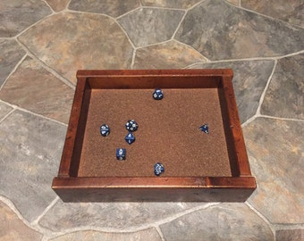 Solid wood dice tray with cork lining
