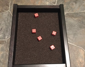 soild wood dice tray, with cork lining