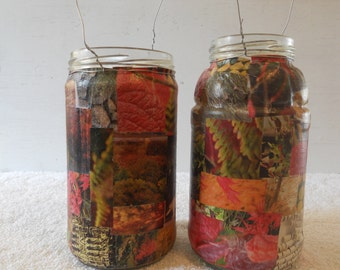 Upcycled Autumn Leaf Collaged Jar Lantern