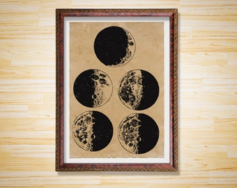 Moon Phases poster Space decor Astronomy print