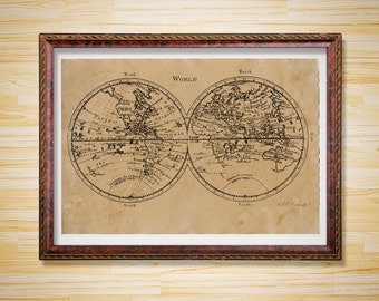 Geography poster Old World Map print Vintage decor