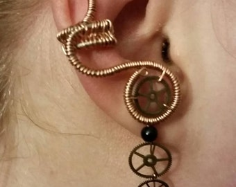Steampunk wire wrapped ear cuff