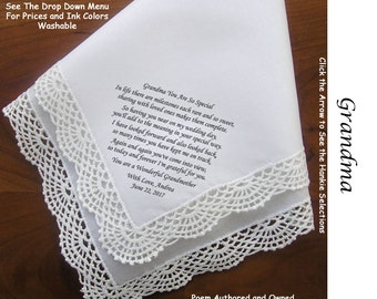 Grandma of the Bride or Groom Gift Hankie & Poem 1503 From Bride   Sign and Date                   5 Wedding Hankie Styles and 8 Ink Colors.
