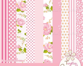 Papers digital for print Animal print-pink-polka dot-download immediate-PNG-Scrapbook