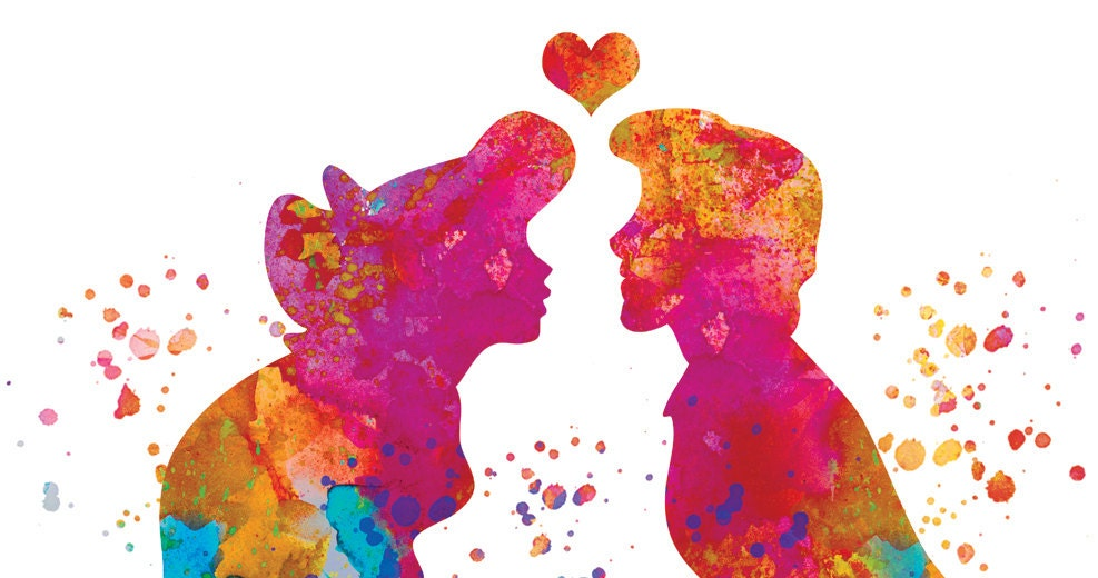 Ariel and Eric Disney Watercolor Print Ariel Poster Love art