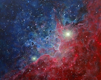 "Red Blue Space Nebula Painting 11"" X 11"""