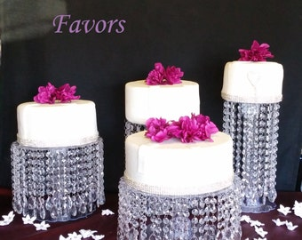 "SALE  Set of 4 Enchanting Crystal Cake Stands 4"" - 12"" Tall"