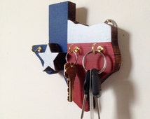 Texas Flag Key Rack - Handmade, Wooden Key Hanger