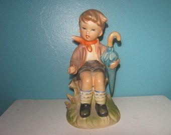 Vintage Figurine Designed By Erich Stauffer, 1950's Boy with Umbrella