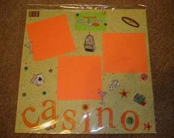 Premade 12x12 Scrapbook Page - VACATION / CASINO!