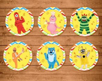 Yo Gabba Gabba Cupcake Toppers Rainbow Chevron -- Yo Gabba Gabba Stickers -- Yo Gabba Gabba Party Favors -- Yo Gabba Gabba Printables