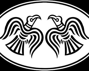 Odin's ravens Huginn and Muninn, oval sticker for many purposes