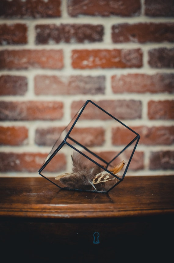 Small Terrarium Cube, Stained glass vase, glass decoration, candle holder, stained glass cube