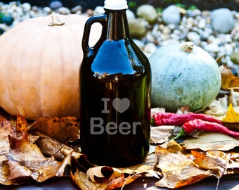 Growler with I Love Beer Etching 64oz Brown Glass for Beer, Wine, Mead, or Whiskey