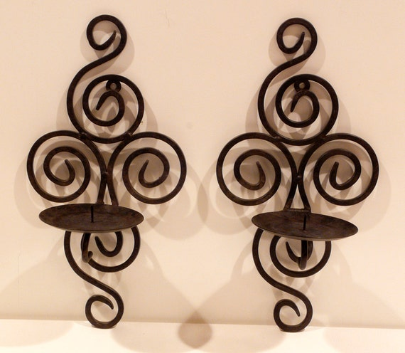 Wrought Iron Wall Decor Candle Holders : Wrought iron candle holder wall mounted by
