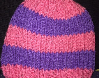 Knit Infant Hat- Pink & Purple Stripe