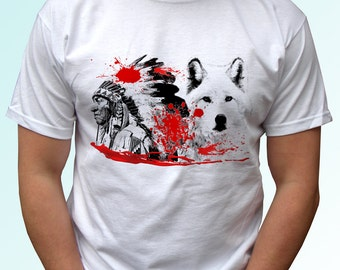 Native t shirt - new white shirt american indian wolf print design 100% cotton - Mens, womens, kids & baby clothing - all sizes!