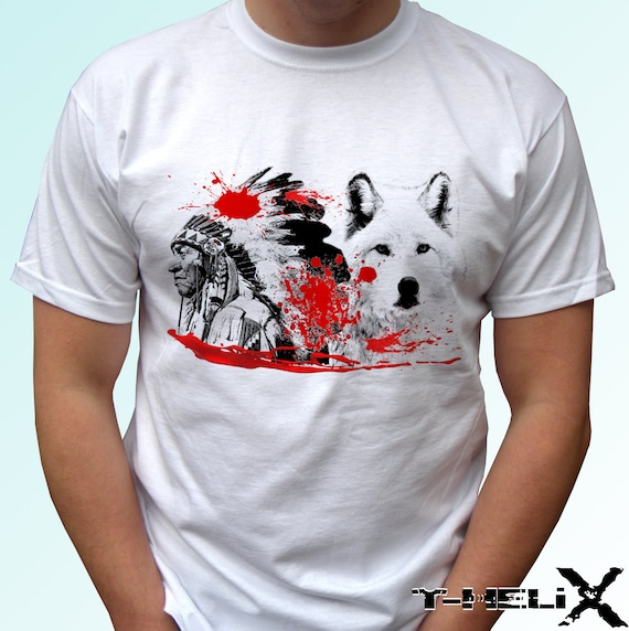 Native T Shirt New White Shirt American Indian Wolf Print