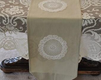 Handmade Light Green Table Runner with Cream Doiles, Home Decor, Table Decor, Vintage, Shabby Chic, Linens