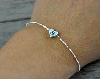 Simple Bracelet, Tiny Heart bracelet, Hand stamped initial on heart bracelet, Personalized bracelet, Silver Bracelet
