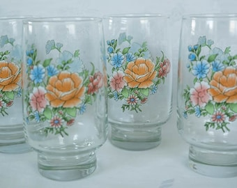 Retro Drinking Glasses Set of 4 - Kitsch 1960's