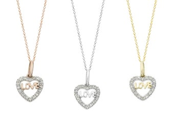 Tousi Jewelers Love Heart Pendant-14 k Real Gold Charm -0.10 Tcw White Diamond Necklace G-H SI1