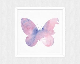 Nursery art - Watercolor Butterfly - Nursery Printable - Nursery wall art - Nursery decor - Digital download - Butterfly nursery - girl room